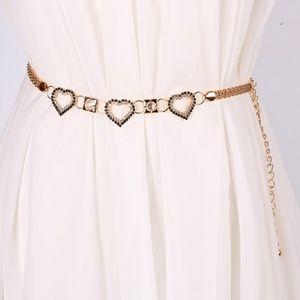 Glod/Sliver Diamond Heart Shaped Waist Chain
